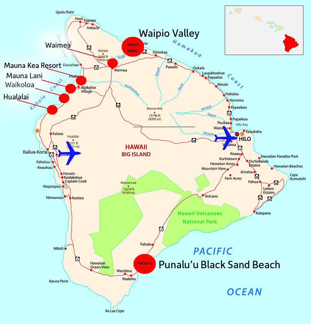 Hawaii Big Island Map with Airport